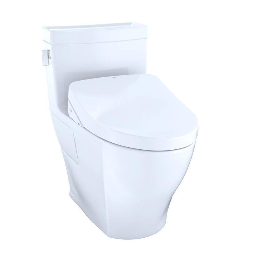 Toto Legato Cotton White Watersense Elongated Chair Height 1 Piece Toilet 12 In Rough In Size Lowes Com One Piece Toilets Washlet Bidet Seat