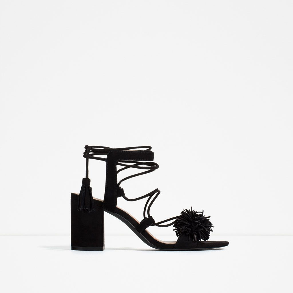 HIGH HEEL LEATHER LACE-UP SANDALS-Heeled sandals-SHOES-WOMAN | ZARA