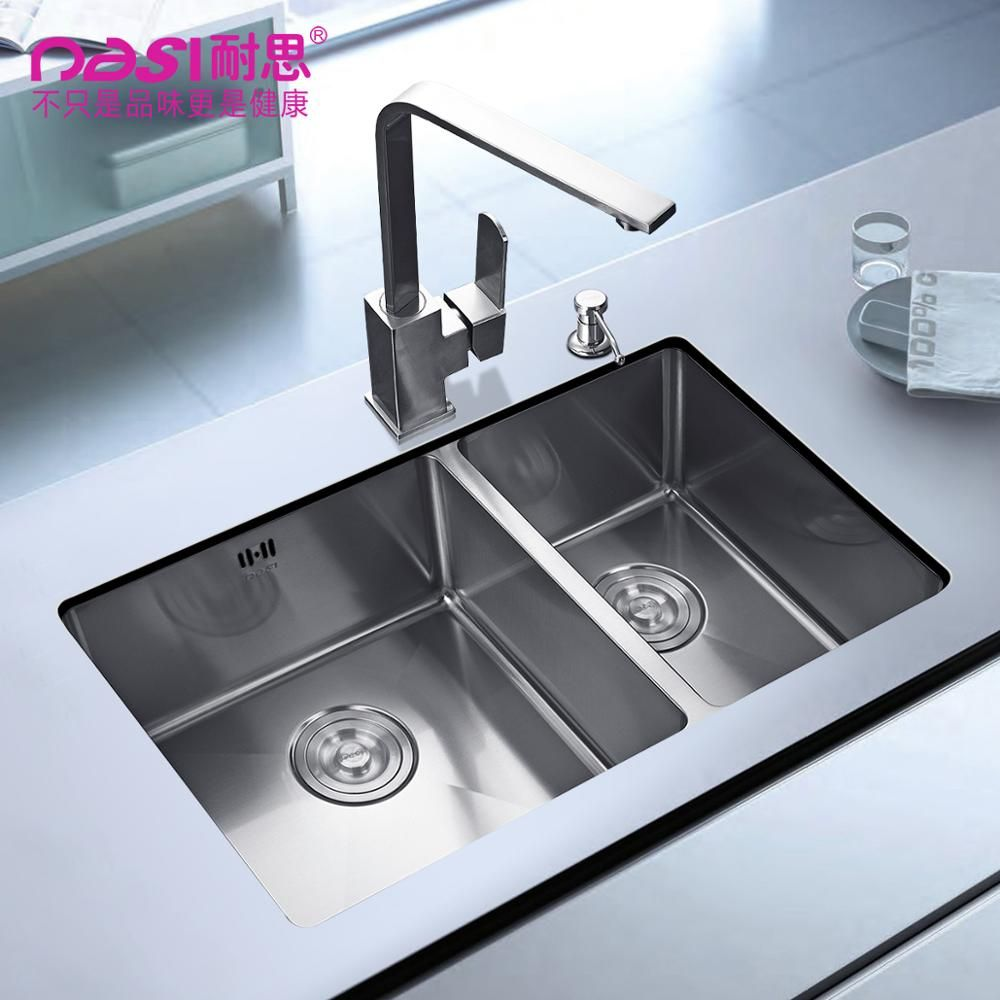 Free Shipping 304 Stainless Steel Sink Manual Double Groove Kitchen Vegetable Washing Basin Thickened Undercounter