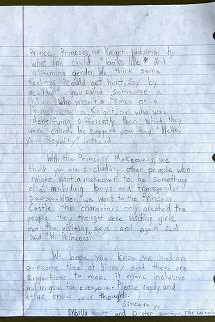 Two Children Wrote A Letter To Disney About Its Racial And Gender