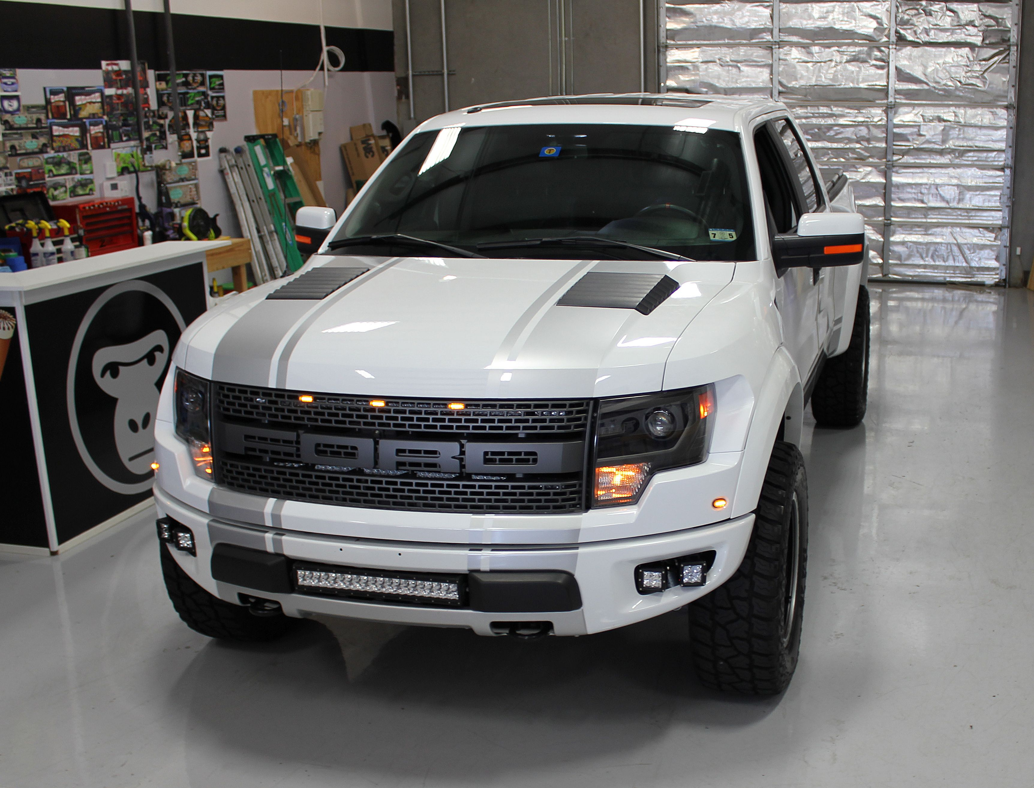 Ford Raptor Racing Stripes White Aluminum Wrap Racing Stripes Truck Wraps Graphics Car Wrap