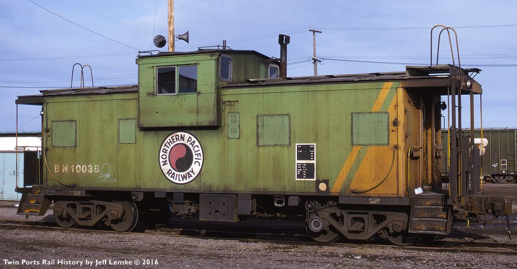 Bn caboose 10038 at superior wisconsin on march 3 1992