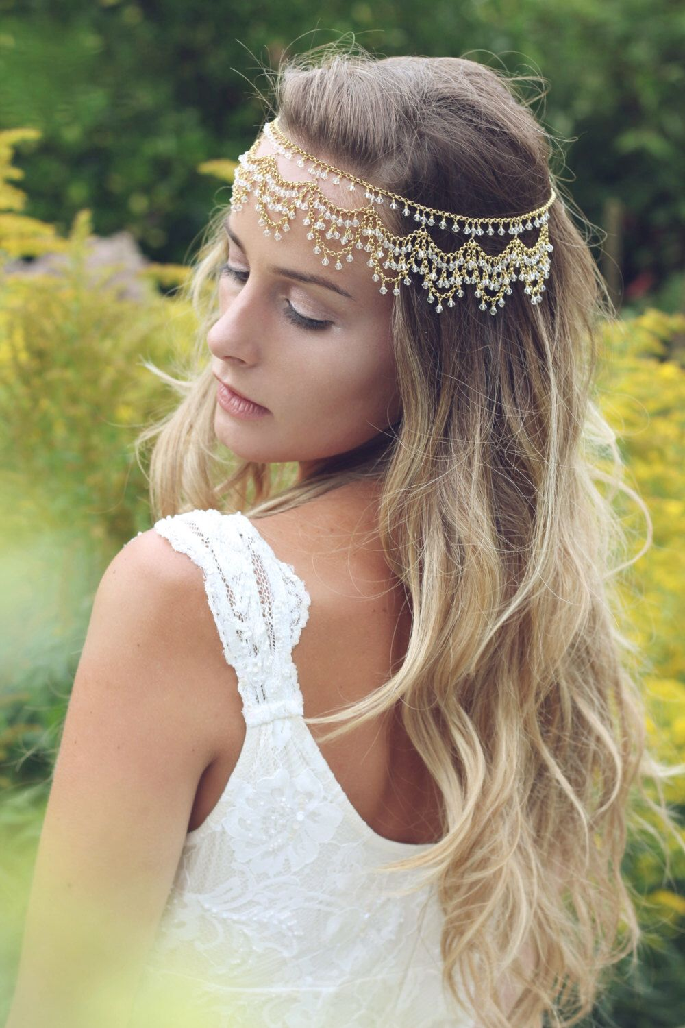 boho bridal headpiece, boho forehead chain, bridal headdress