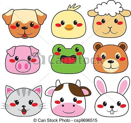 Vector Animal Face Collection Stock Illustration Royalty Free Illustrations Stock Clip Art Icon Stock Cli Funny Cartoon Faces Animal Faces Happy Animals