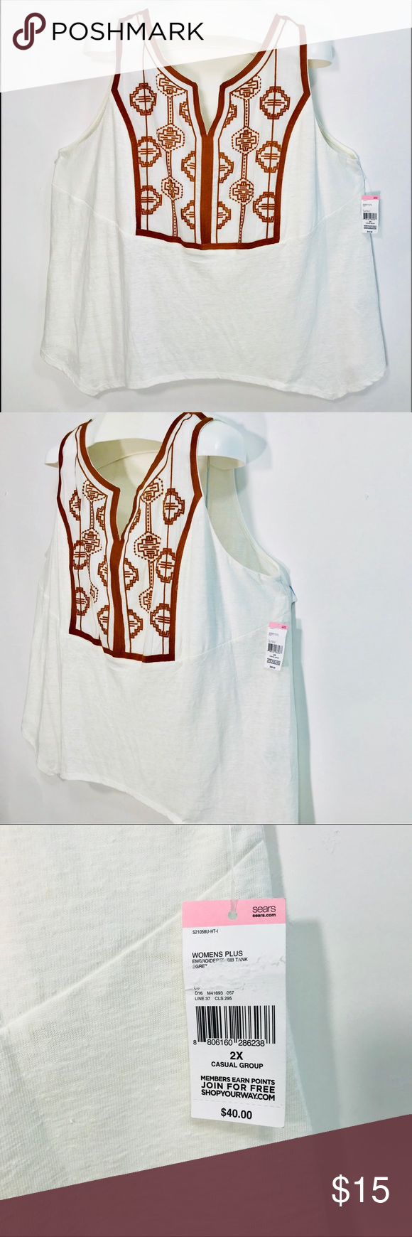c3b307d03531f Simply Emma Tribal Embroidered Tank Linen Blend Simply Emma Women s Plus  size 2X Tribal Embroidered Tank
