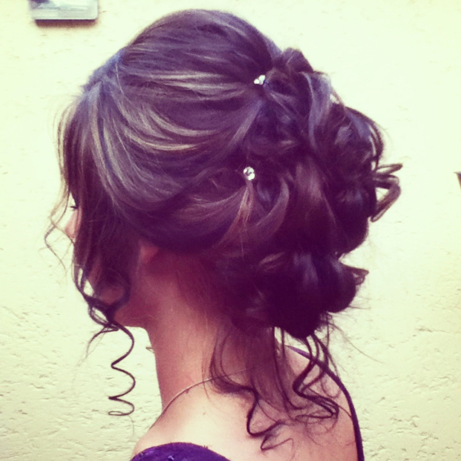Prom hairstyle love the diamonds perfect for curly hair long