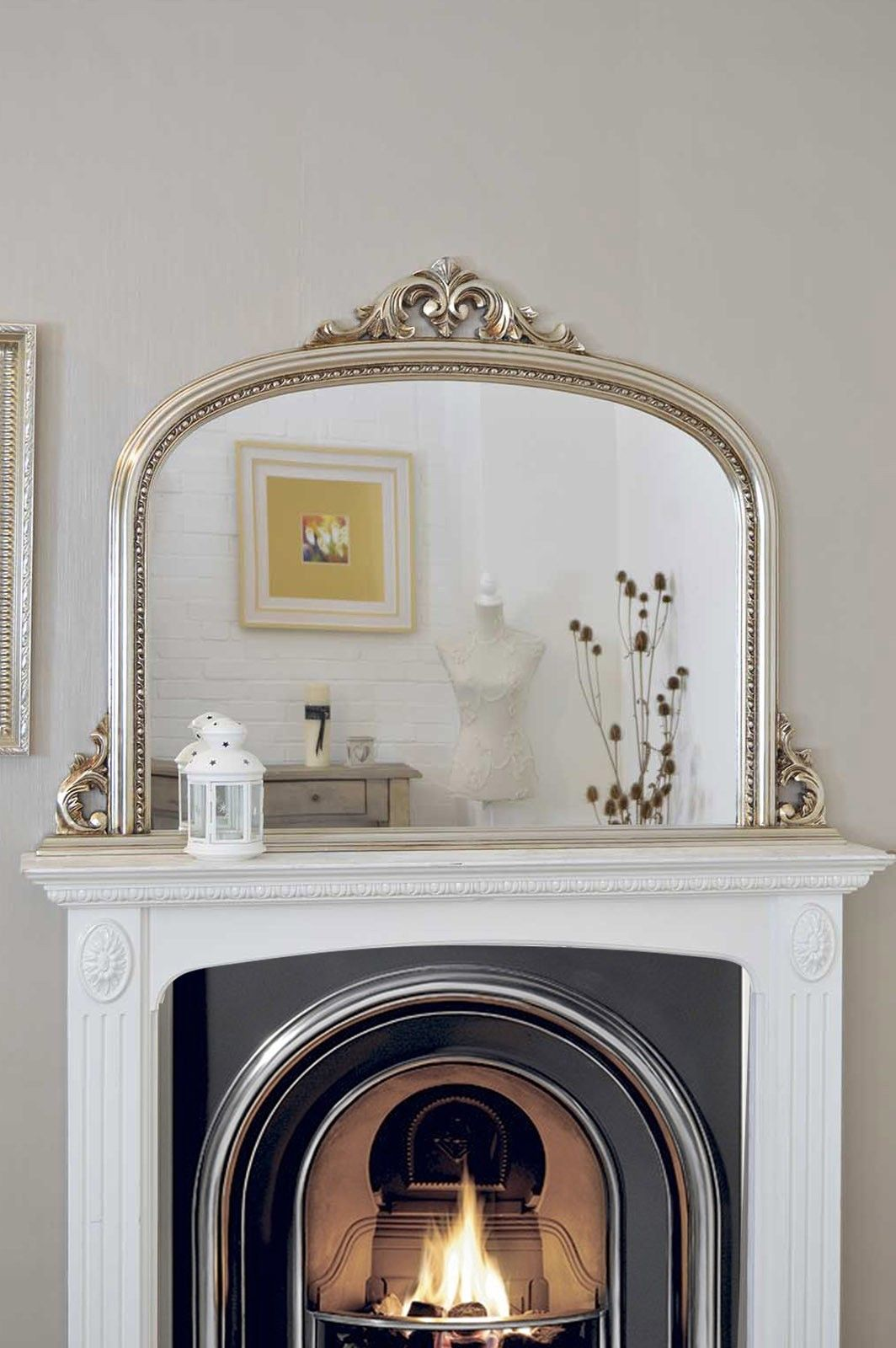 4Ft2 X 3Ft 120cm 90cm Large Silver Antique Design Over Mantle Big Wall Mirror MirrorsBathroom MirrorsFireplace