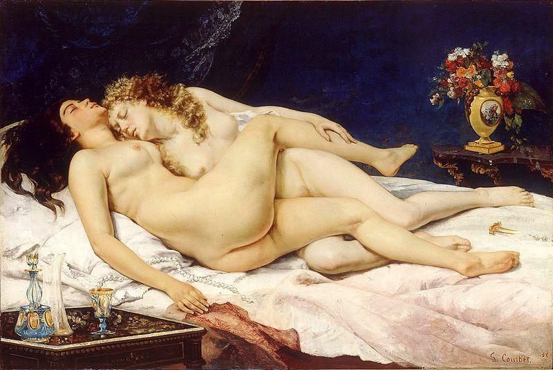 """secretlesbians: """"Gustave Courbet, Le Sommeil, 1866.  Le Sommeil [The Sleepers], que retrata duas mulheres entrelaçados em um abraço pós-coito, causou um rebuliço quando foi exibido pela primeira vez na década de 1870.  A polícia foi chamada, e a pintura não foi mostrado ..."""