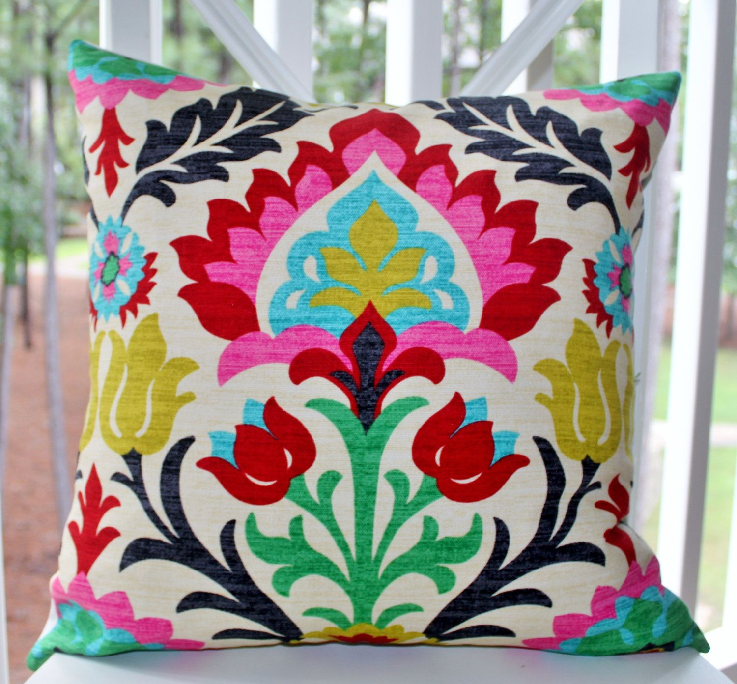Decorative Pillow Cover - Desert Flower - Modern Red Pink Turquoise Pillow - Bright Color Throw ...