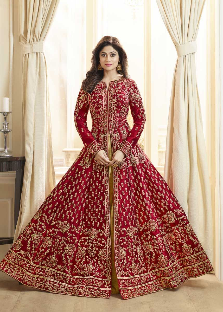 Designer Red Color Mulberry Silk Heavy Embroidered Wedding Wear ...