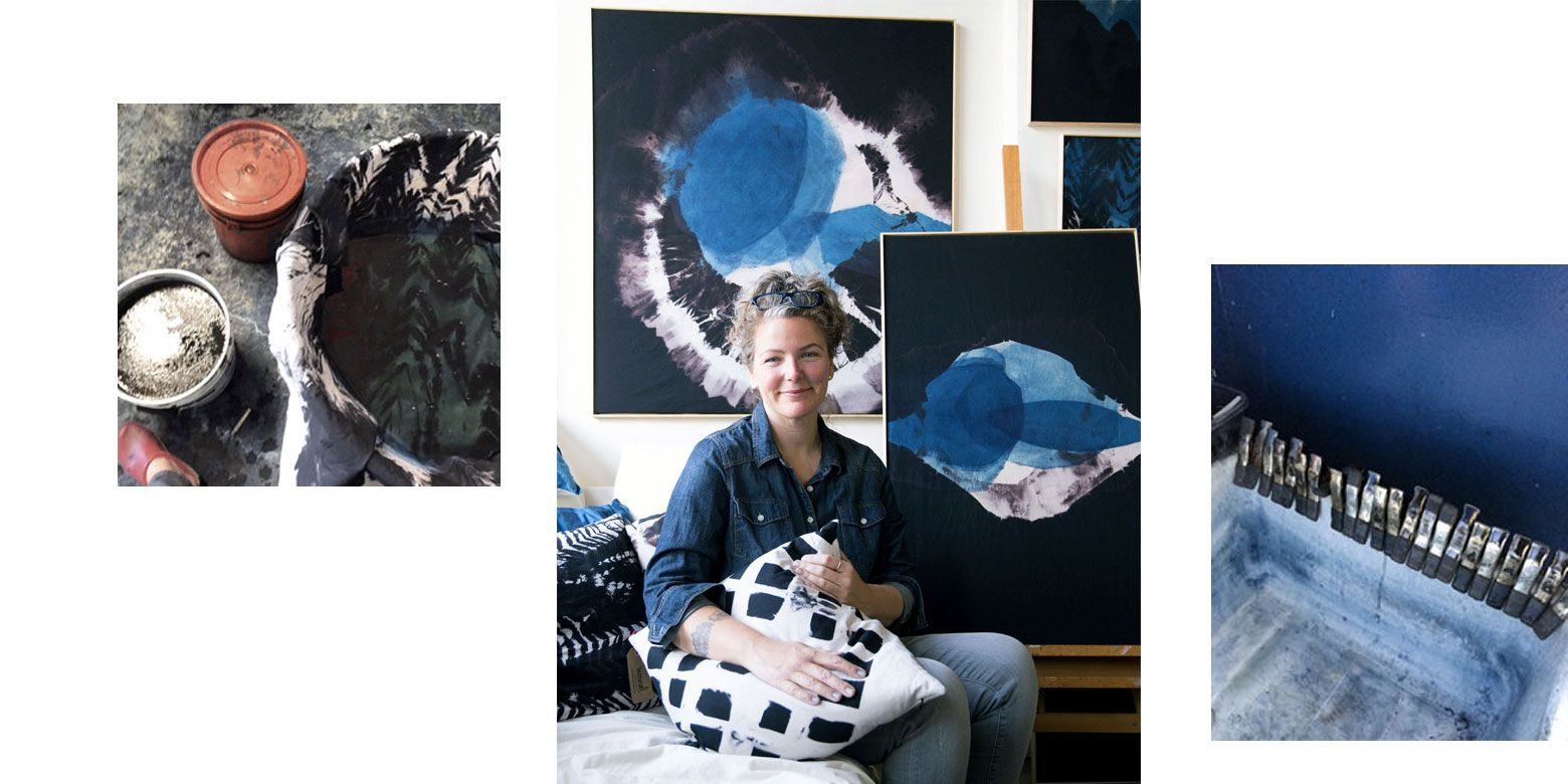 Bay Area artist Carrie Crawford has fallen in love with a centuries-old practice shared by cultures around the world - the art of indigo. Inspired by natural topographies and phenomena - like mineral deposits, algae blooms, thermal features, fault lines - the artist uses the time-honored technique to create one-of-a-kind artworks in bold shades of blue.   Read more about her careful and time-intensive process, and shop her original wall panels and pillows.
