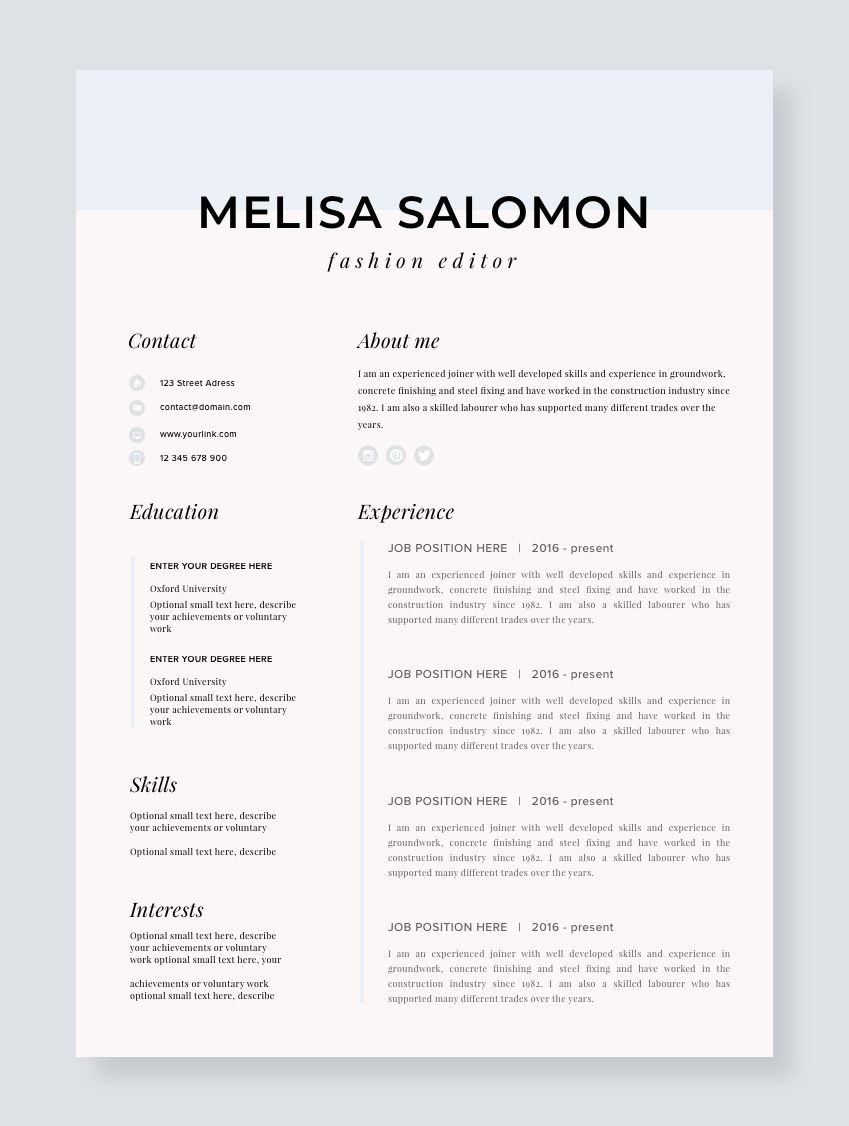 graphic design business student resume template