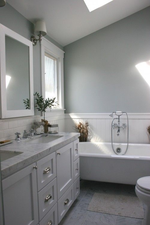 Remodeled Gray Bathrooms example of sherwin williams- lazy grey in well lit room - a