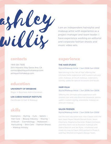 pink blue script creative makeup artist resume