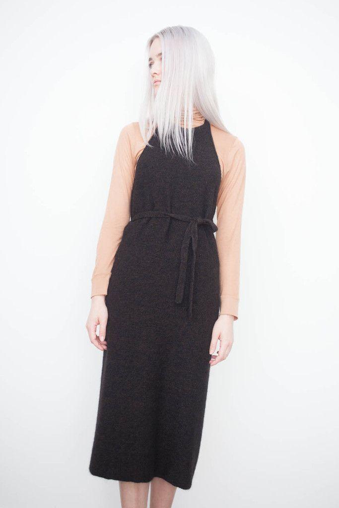 Base Range Knit Apron Dress in Black Melange