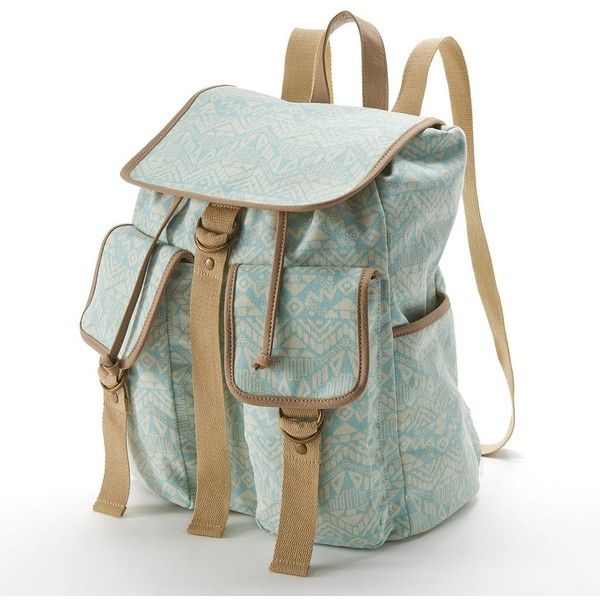 Mudd Aztec Backpack (Green) ($19) ❤ liked on Polyvore featuring bags, backpacks, green, print canvas backpack, green bags, canvas rucksack, strap backpack and aztec backpack