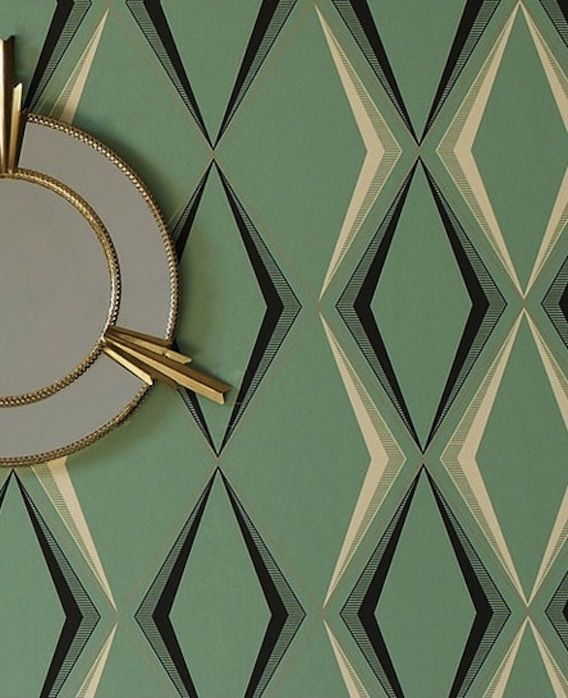A stylish Art Deco diamond pattern in a subtle green color