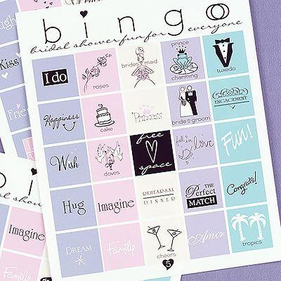 Bridal Bingo for the bridal shower.