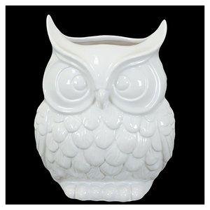 Urban Trends 9'' White Ceramic Owl Statue