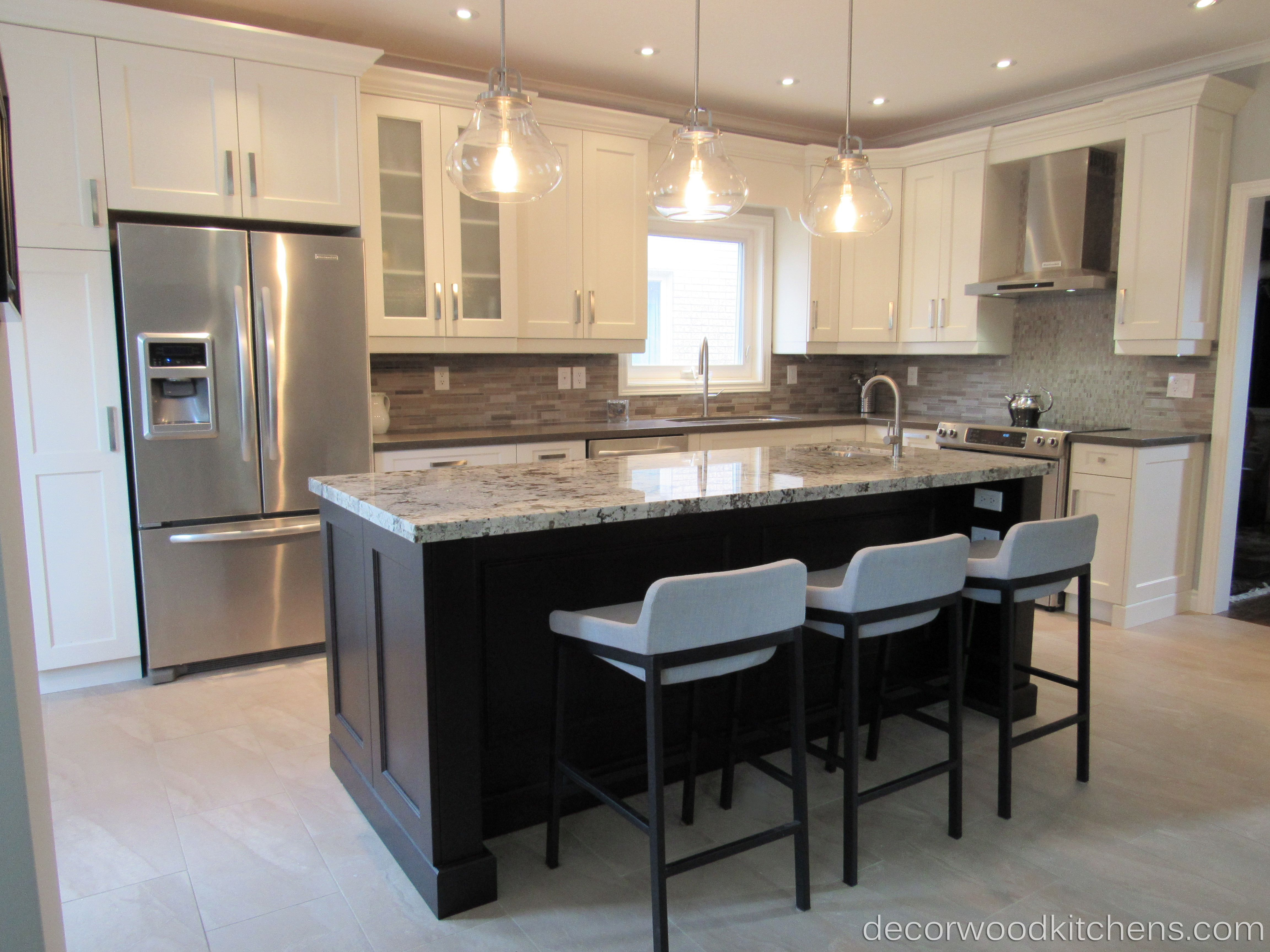 large sized open concept kitchen painted kitchen stained island granite countertop at island. Black Bedroom Furniture Sets. Home Design Ideas