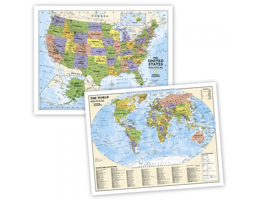 Buy world and us education wall maps political grades 4 12 by national geographic education political usworld map set gumiabroncs Choice Image