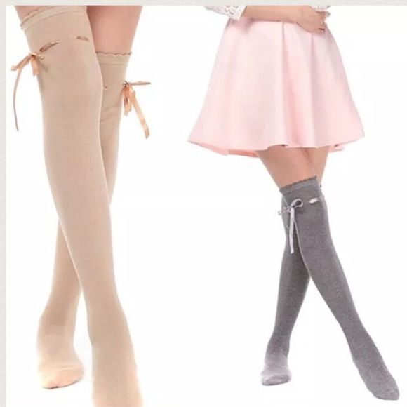 Khaki Over The Knee Ribbon Bow Stockings These are amazing! I have them in only khaki at the moment Accessories Hosiery & Socks
