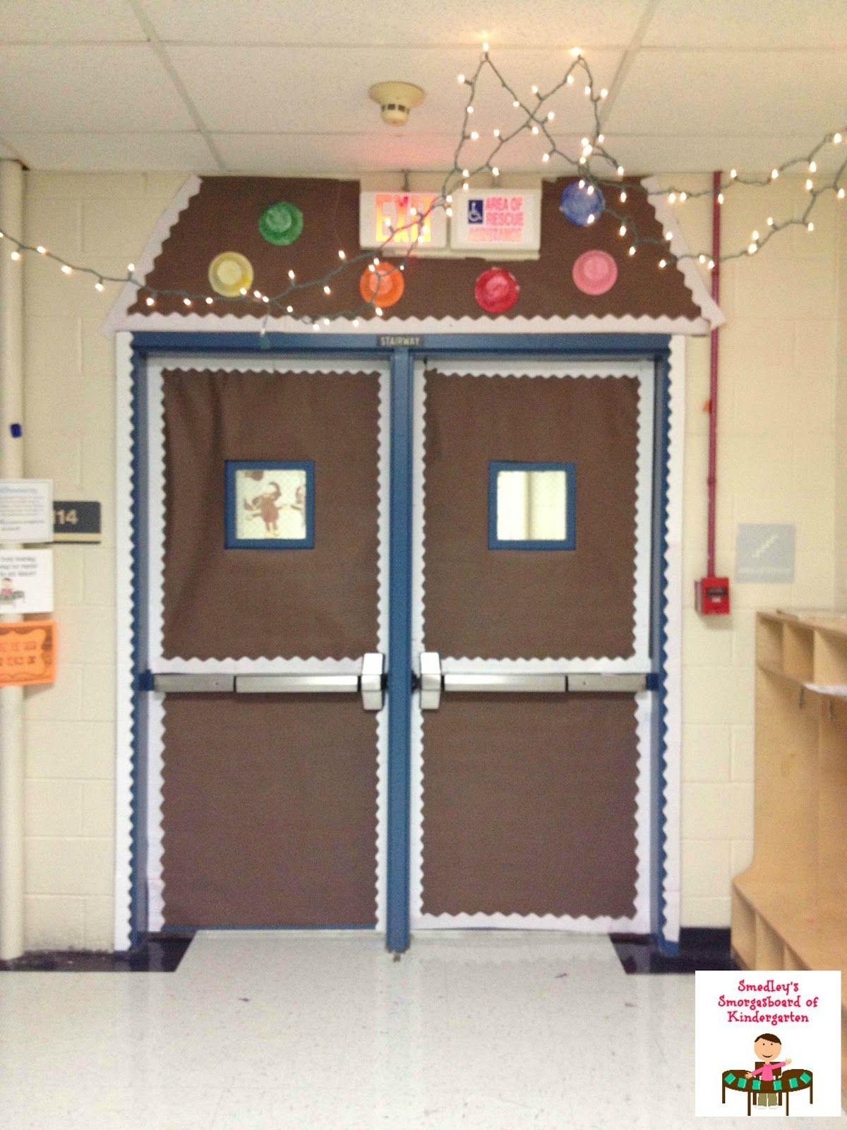A Gingerbread Hallway Display The Kindergarten Smorgasboard Christmas Door Decorationsclass