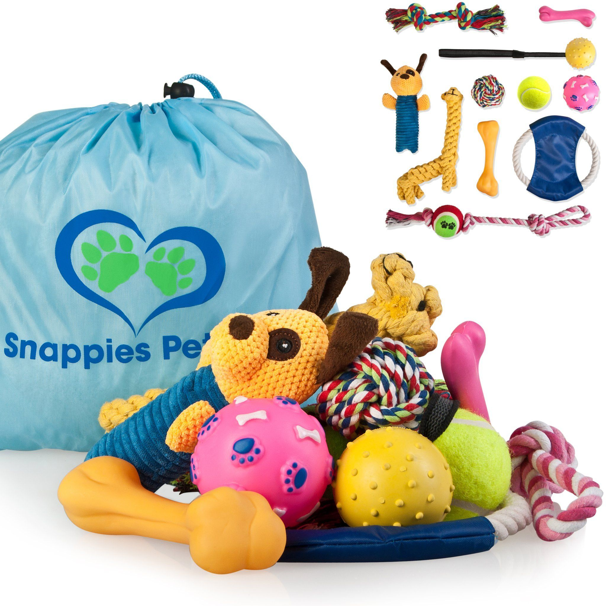 Dog Toy Gift Bag 11 Piece Set Of Rope Toys Squeaky Toys Rubber