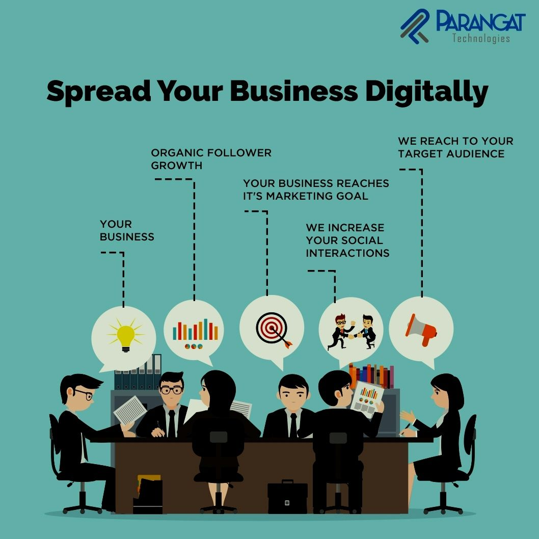 Spread your Business Digitally! We at Parangat Technologies help creating solutions for you to manage all these services in a faster and more effective way through online marketing.