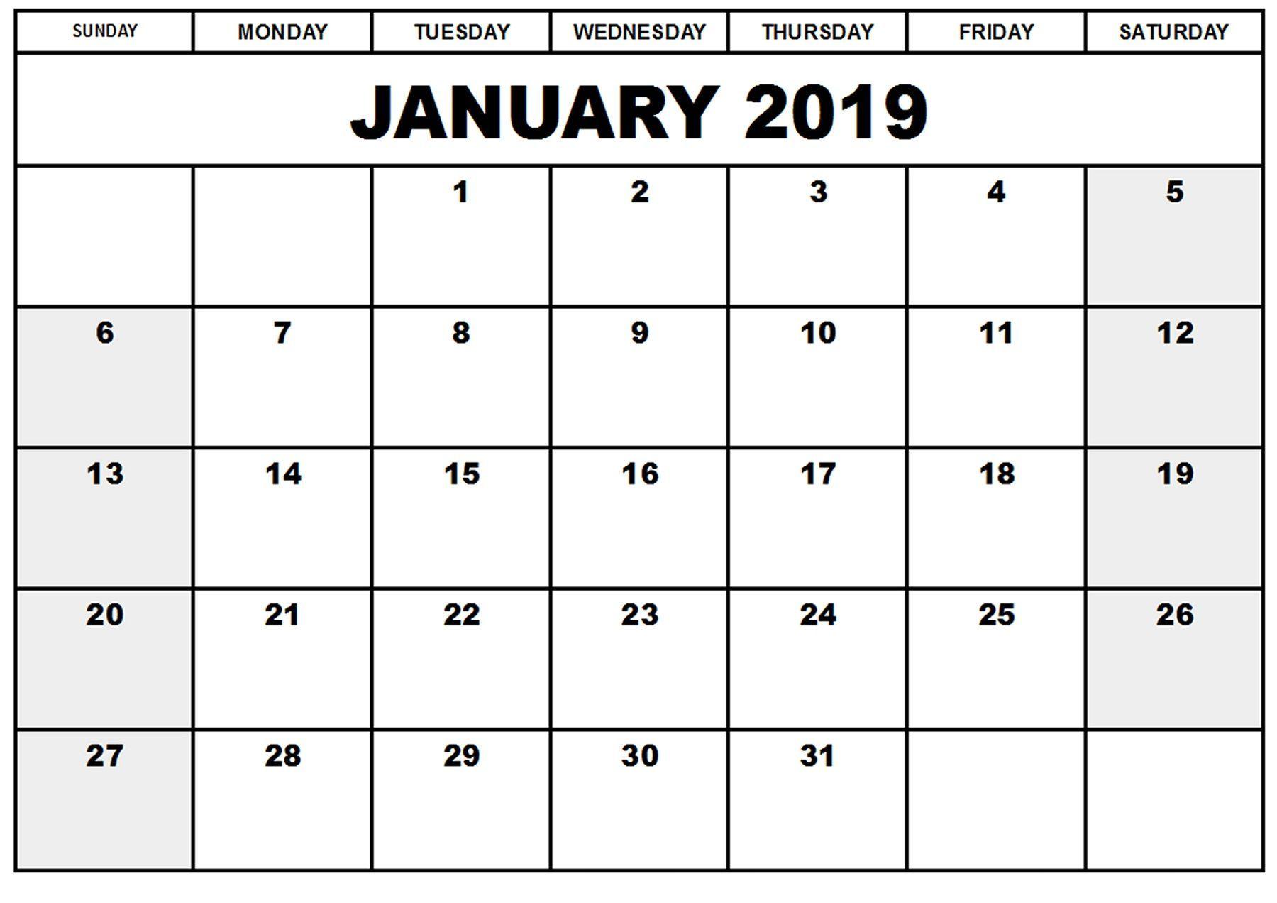 Excel Calendar January 2019 Printable Calendar January 2019 | Blank January 2019 Calendar