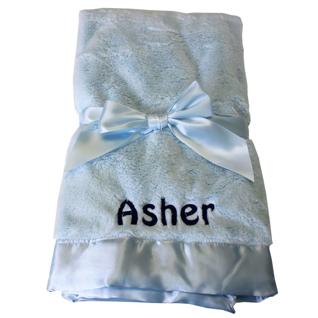 Bearington silky soft plush blue crib baby blanket personalized