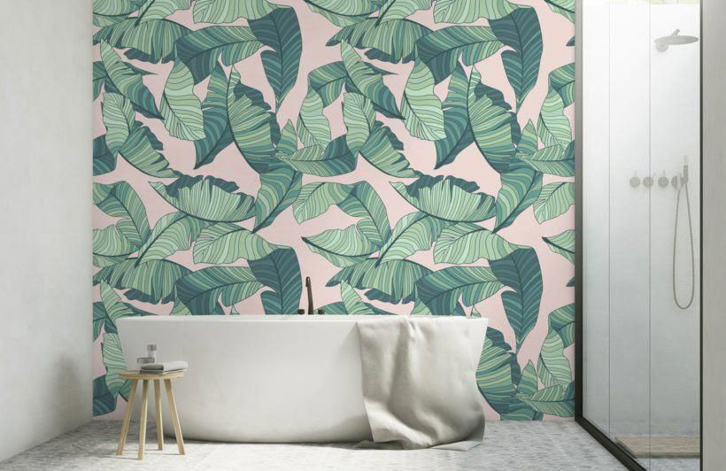 pink green tropical leaf wallpaper mural in 2020 green on bathroom tile designs ideas trends for 2021 5 measures to install id=30381