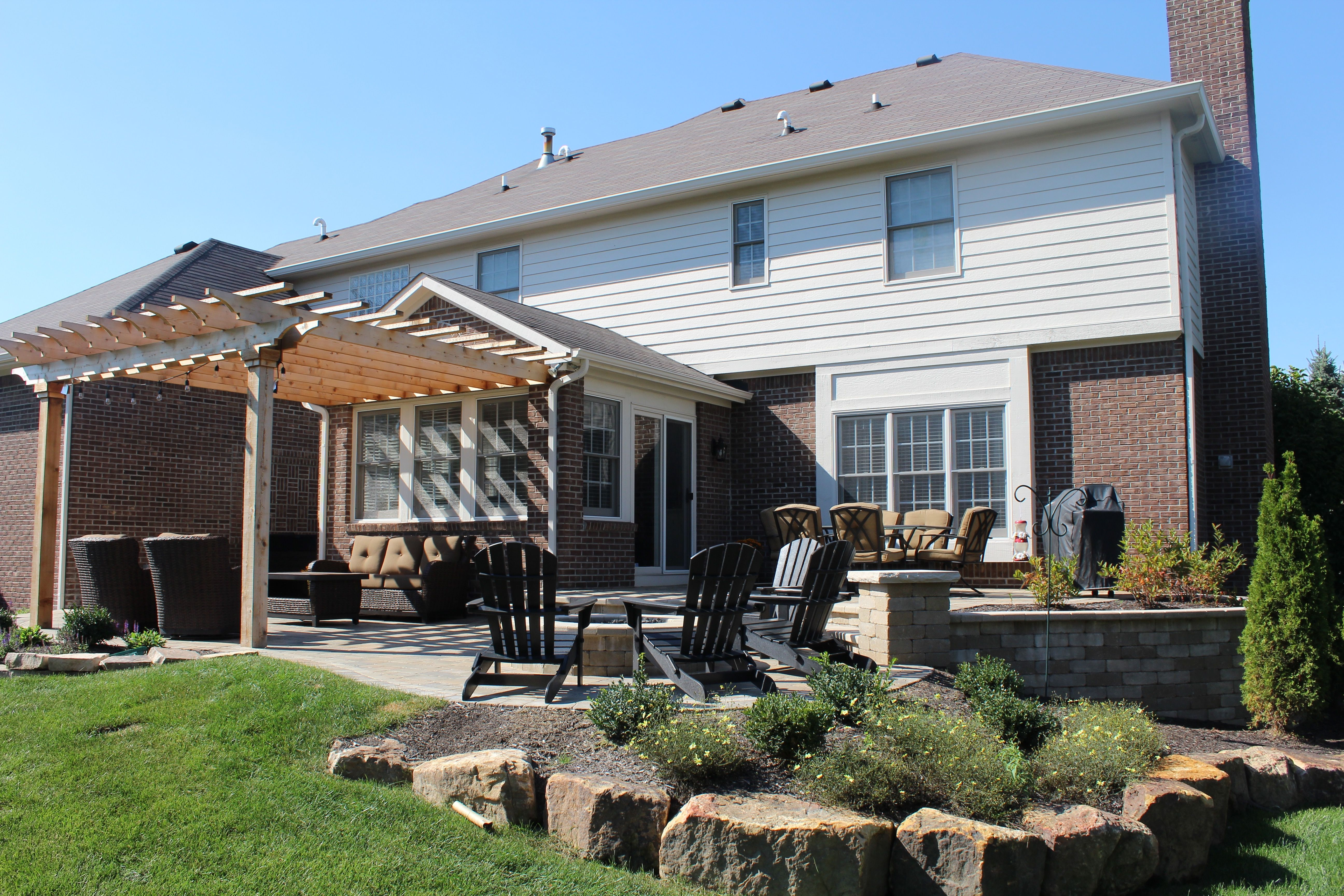 Traditional Family Outdoor Living Space with terraced ... on Attached Outdoor Living Spaces id=68472