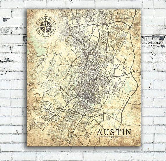 AUSTIN TX Canvas Print Texas TX Vintage map Austin tx City Map Wall ...
