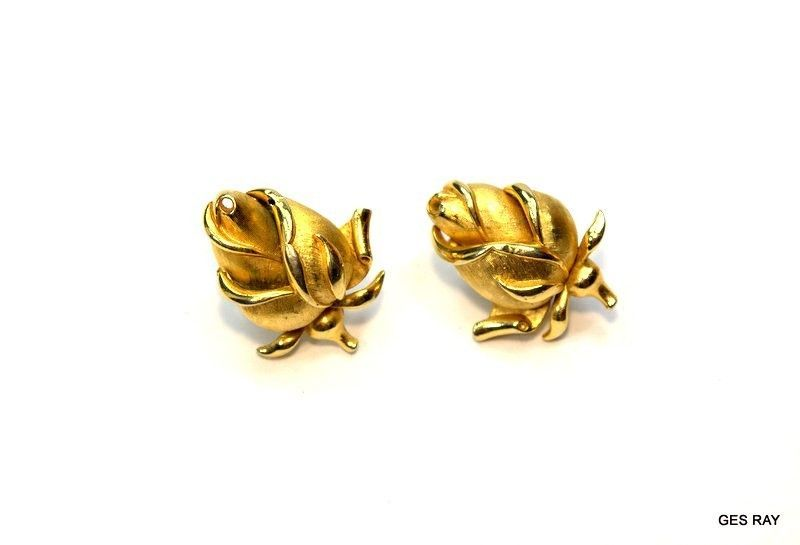 century .... Designer Crown Trifari brooch pin vintage jewelry brushed gold polished mid