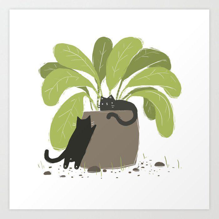 House Plant House Cats Art Print