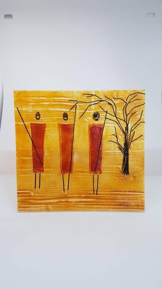 Glass art, African Art, Masai Warriors, Savannah scene, contemporary ...