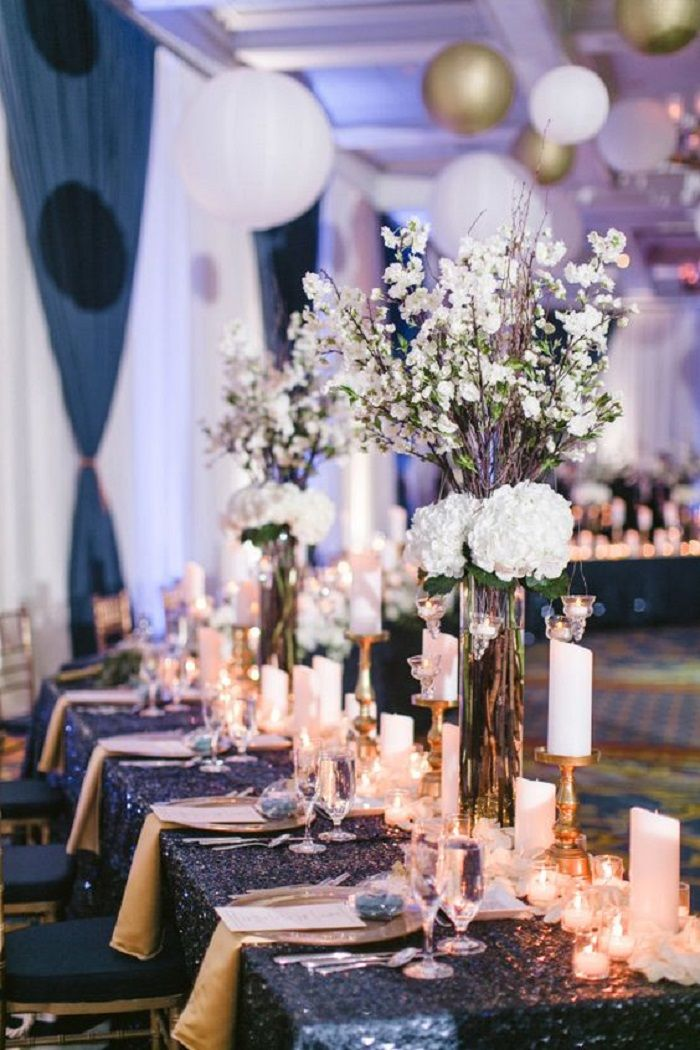 Dark blue and gold elegant wedding reception #weddingrecption #weddingdecor #weddinginspiration #fairytalewedding