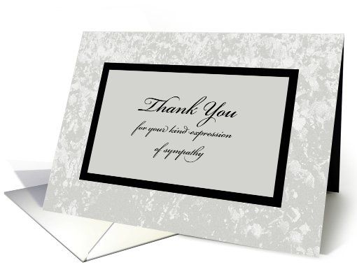 Sympathy Or Funeral Thank You Card  Classic Sympathy Thank You