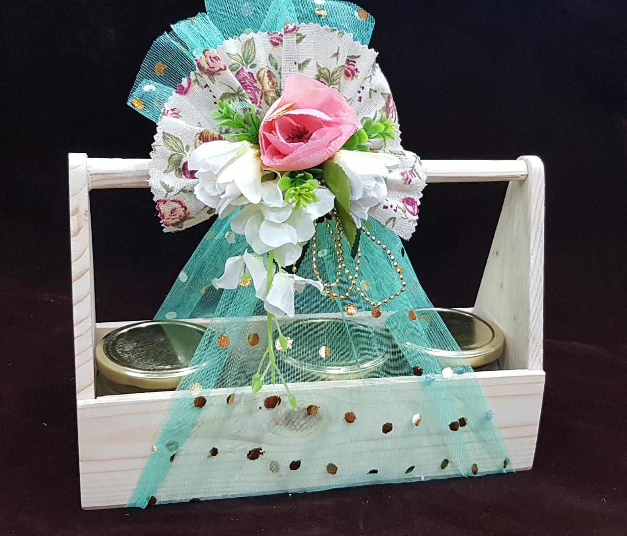 Rs. 550/ Pine basket with 3 Jar and decoration. Get more