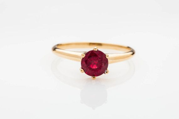 Simple Victorian Ruby Ring Solitaire 1 50ct Natural Ruby 14k Gold Ruby Engagement Ring Ruby Ring Simple 14k Gold Wedding Ring
