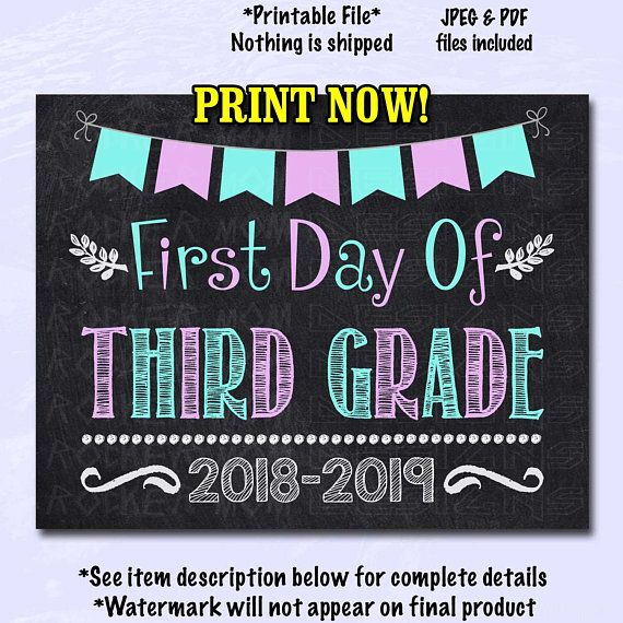 image relating to First Day of 3rd Grade Sign Printable named Initially Working day of 3rd Quality signal, Very first Working day Of College or university Signal, 3rd