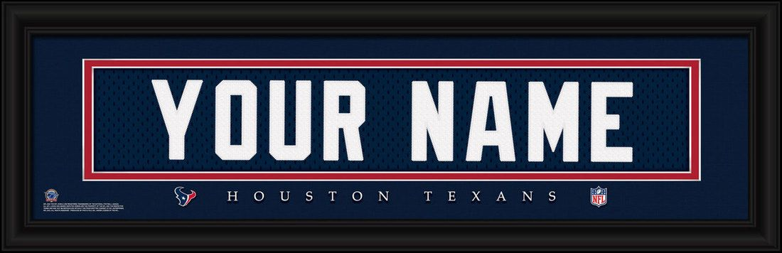 Houston Texans NFL football jersey print framed to look like a real jersey  shadow box frame in 3D with embroidered name. Team name ed1758320