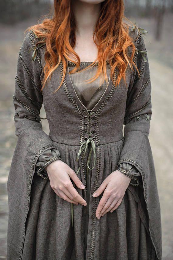 Elven Kleid Langarm Kleid lebensgroß Kleid | Mittelalter ...