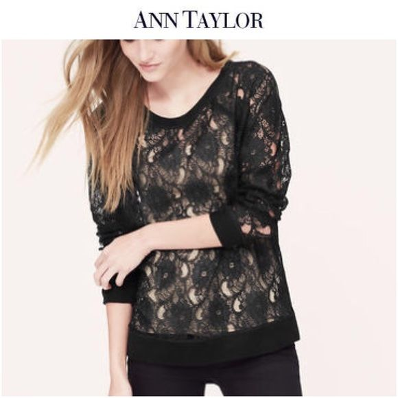 Ann Taylor Lace Sweatshirt   Top LOFT Black lace-meets-sweatshirt top • loose comfortable fit. Rib neckline, cuffs and hem • Add a cami for more coverage. Excellent condition. (Model the exact top from Ann Taylor but in pink..the one for sale is black.) Ann Taylor Tops Tees - Long Sleeve