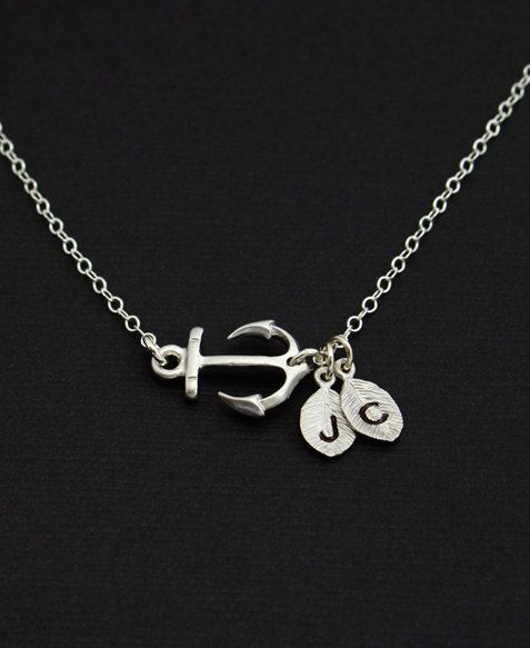 Personalized Silver Sideway Anchor Necklace  by MenuetDesigns, $28.50... i neeeed this!