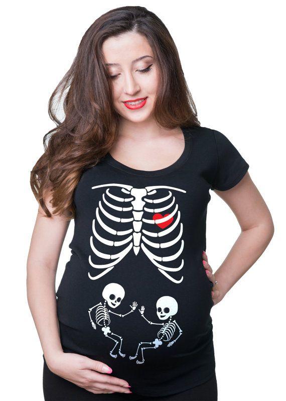 f032a33c Maternity Tee Shirt Skeleton Twins X-ray Baby Funny Cute Maternity Tee Shirt  Pregnancy T-shirt Halloween Costume