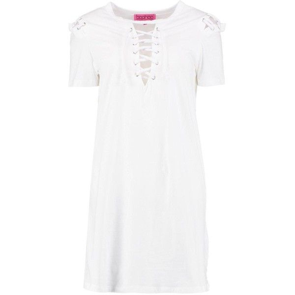 7b17bacca7f5 Boohoo Sally Lace Up Front T-Shirt Dress ($18) ❤ liked on Polyvore  featuring dresses, white cotton dress, bodycon mini dress, white bodycon  dresses, ...