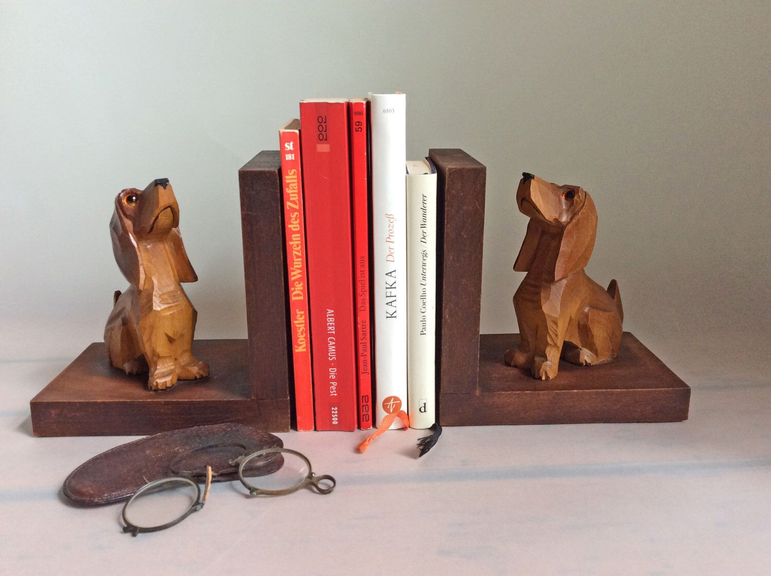 Dachshund Home Decor Vintage Dachshund Wiener Dog Sausage Dog Bookends Wooden Dog Book