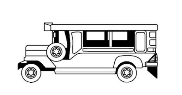 Jeepney Clipart Black And White Coloring Pages
